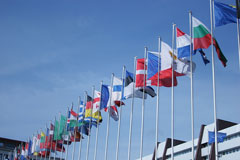 european national flags at eu parliament building - strasbourg, france