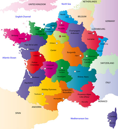 France provinces and capital cities map