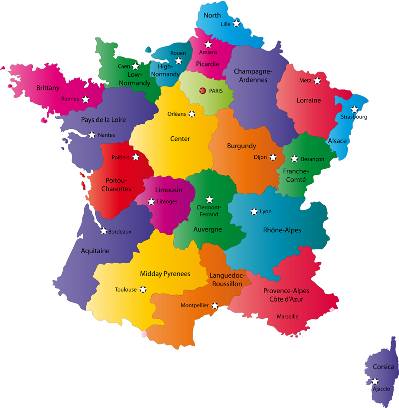 Areas Of France Map.French Provinces And Provincial Capitals Map Provinces Of France
